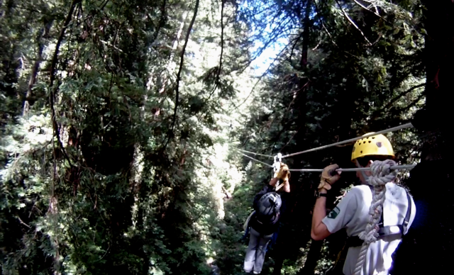 9. My Granddaughter's Backward's Landing, Ziplining, video still, June 2012;