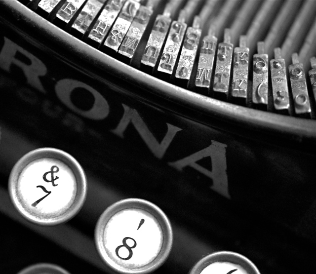 1. Typewriter, Nikon DSLR,  January2012; © Sally W. Donatello and Lens and Pens by Sally, 2012