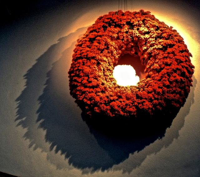 3.Backlit Wreath, iPhone 4s, Longwood Gardens, December 2012; © Sally W. Donatello and Lens and Pens by Sally, 2012