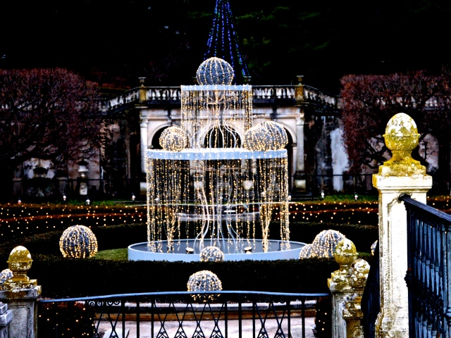 9. Fountain with Holiday Lights, Longwood Gardens, Nikon DSLR, December 2012; © Sally W. Donatello and Lens and Pens by Sally, 2012