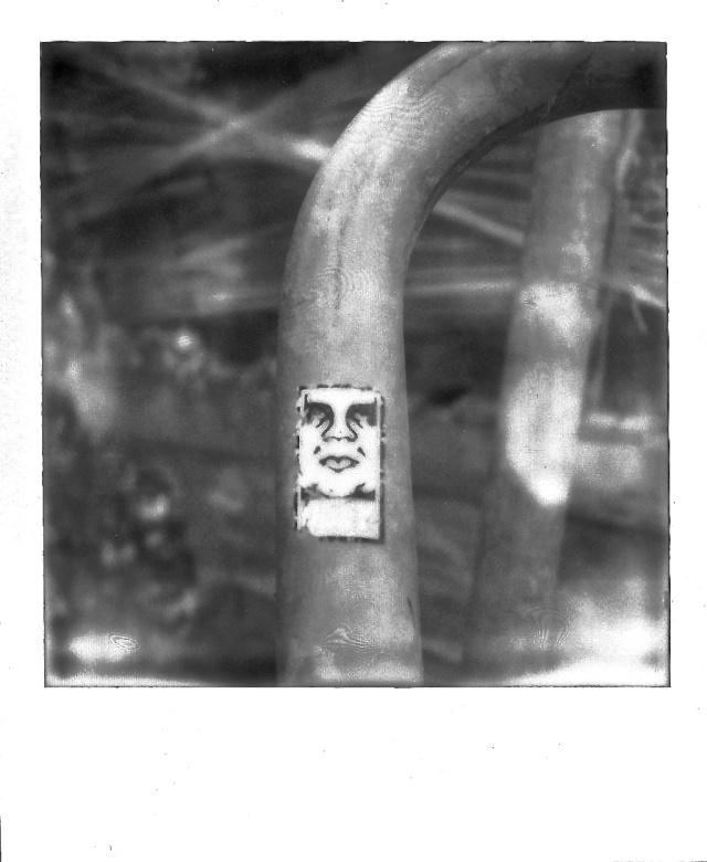 9. Label on Bicycle Rack, Polaroid, November 2012; © Cole Bedford, 2013