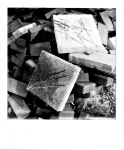 Cement Blocks, UD Campus, Polaroid, November 2012; © Sally W. Donatello and Lens and Pens by Sally, 2013