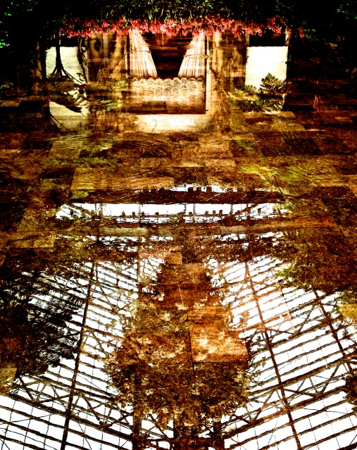 2. Reflections from Sunken Floor in Conservatory, iPhone 4s, Longwood Gardens; © Sally W. Donatello and Lens and Pens by Sally, 2013