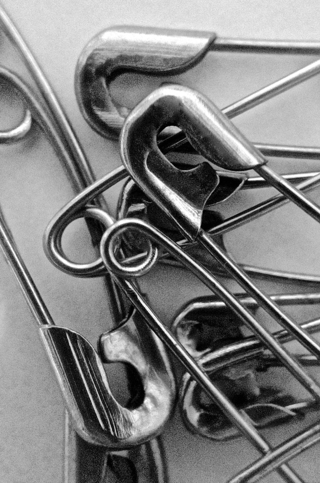 3. Safety Pins. iPhone 4s, May 2013; © Sally W. Donatello and Lens and Pens by Sally, 2013