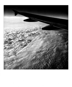 1. Cloudscape at Dawn, Flying to West Coast, iPhone 4s, April 2014; © Sally W. Donatello and Lens and Pens by Sally, 2014