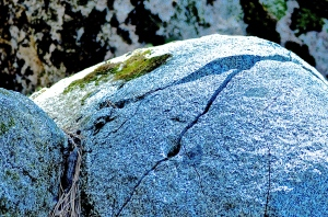 2. Granite Boulder with Moss, Hirschman Diggins, Nevada City, California, iPhone 4s, April 2014; © Sally W. Donatello and Lens and Pens by Sally, 2014