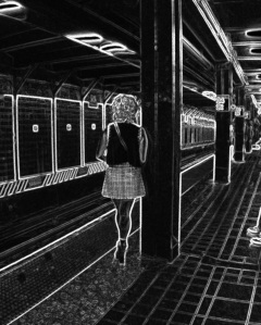 1. Waiting for the R Train to Brooklyn, New York City, iPhone 4s; Copyright © 2014 Sally W. Donatello All Rights Reserved/Lens and Pens by Sally