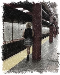 2. Waiting for the R Train to Brooklyn, New York City, iPhone 4s; Copyright © 2014 Sally W. Donatello All Rights Reserved/Lens and Pens by Sally