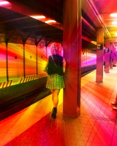 3. Waiting for the R Train to Brooklyn, New York City, iPhone 4s; Copyright © 2014 Sally W. Donatello All Rights Reserved/Lens and Pens by Sally